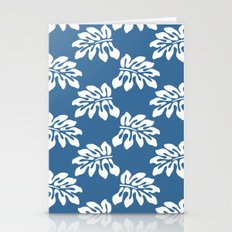 Blue White Tropical Leaf Pattern Stationery Cards