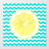 Lemon Turquoise Zigzag Canvas Print