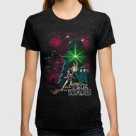Time Wars Womens Fitted Tee Tri-Black SMALL