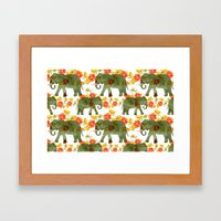 Wading Elephants Framed Art Print