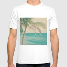 Coco Palm in the Beach  Mens Fitted Tee SMALL White