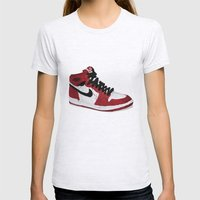 Nike Air Force 1 - Retro - Red & Black & White Womens Fitted Tee Ash Grey SMALL