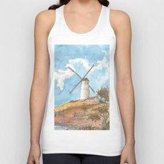 Windmill Against a Blue Sky Unisex Tank Top