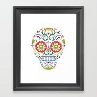 Sugar Skull SF multi 2 - on white Framed Art Print