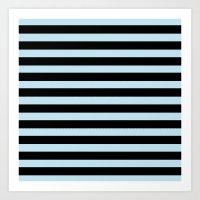 BLUE & BLACK STRIPES Art Print