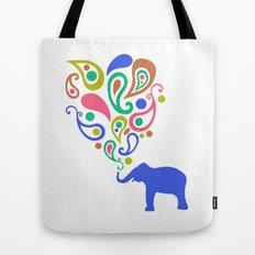 Multi-Colored Paisley Elephant Pattern Design Tote Bag