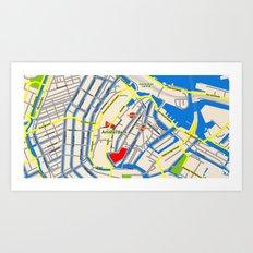 Amsterdam Map design Art Print