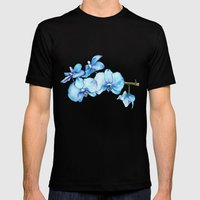 Blue Orchids Two - Watercolor Mens Fitted Tee Black SMALL