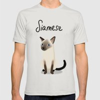 Siamese Cat Mens Fitted Tee Silver SMALL