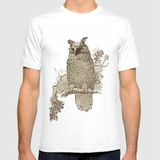 Vintage Owl Mens Fitted Tee SMALL White