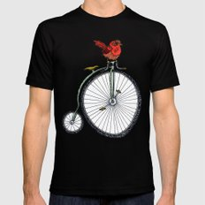 bird on a bicycle. Mens Fitted Tee Black SMALL