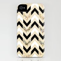 iPhone 4s & iPhone 4 Cases featuring Black, White & Gold Glitter Herringbone Chevron on Nude Cream by Tangerine-Tane