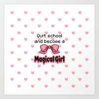 kawaii quit school become a magical girl melty text Art Print