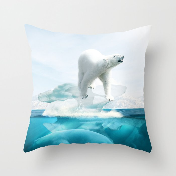 Polar Bear Throw Pillow : Polar Bear Island Throw Pillow by Nicolene Van Staden Society6