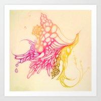 Hummingbird in bloom Art Print