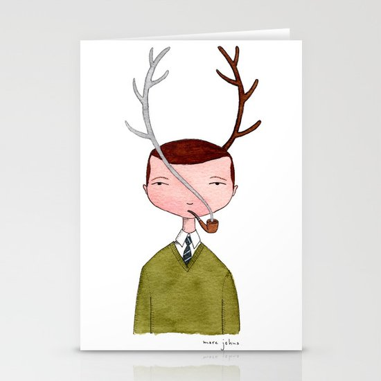 One real antler, one imagined Stationery Card