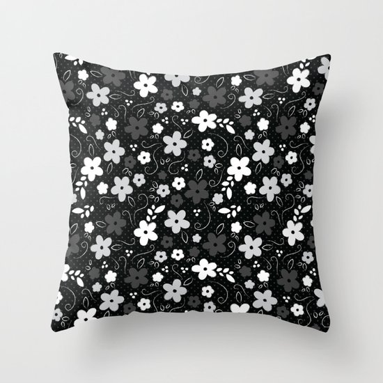 Black & White Floral Throw Pillow