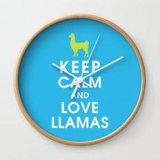Keep Calm and Love Llamas Wall Clock