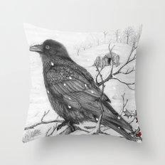 Midwinter Raven v2 Throw Pillow