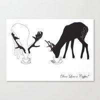 Deer love a Cuppa! Canvas Print