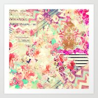 Flowers Mix Vintage Patc… Art Print