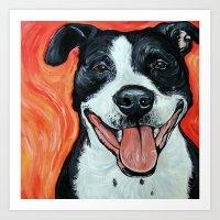 Black & White Adorable Pit Bull  Art Print