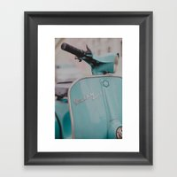 Mint Vespa  Framed Art Print