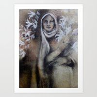 Madonna Of The Lilies Art Print