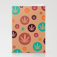 GGDUB - Burnt Orange Weed Leaf Textile~  Stationery Cards