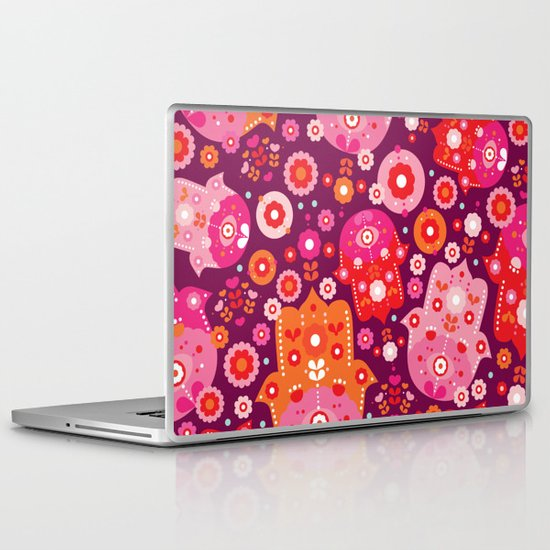 Traditional hamsa illustration hand of fatima oasis Laptop & iPad Skin