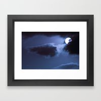 Moon Behind Cloud Framed Art Print