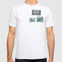 Postage Bleu Mens Fitted Tee Ash Grey SMALL