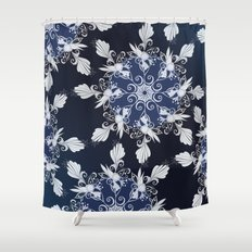 Damask blue Shower Curtain