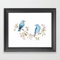 Mountain Bluebirds on Sakura Branch Framed Art Print