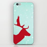 Oh Deer (red & blue) iPhone & iPod Skin