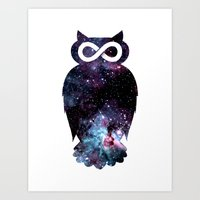 Super Cosmic Owlfinity Art Print