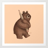The Drawing Bear Art Print