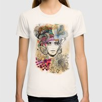 colorful floral girl Womens Fitted Tee Natural SMALL