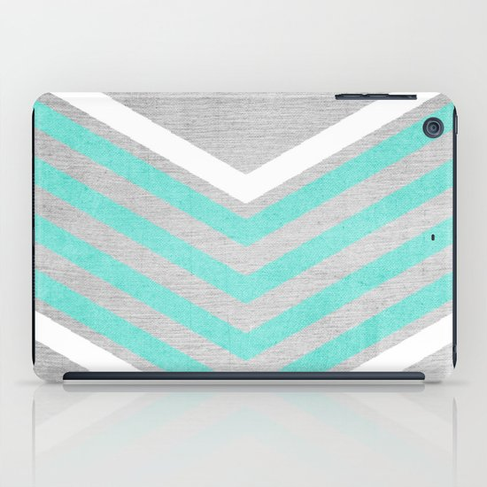 Teal and White Chevron on Silver Grey Wood iPad Case
