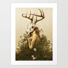 Deer secret. Art Print