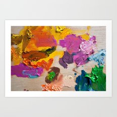 Palette for oil painting. Mixing colors Art Print
