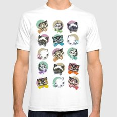 Cats & Bowties SMALL White Mens Fitted Tee