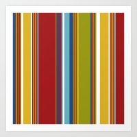 Colorful Striped Cabana … Art Print