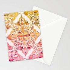 Sunset Art Nouveau Watercolor Doodle Stationery Cards