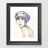 Woman Portrait With Blue… Framed Art Print