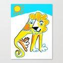 Happy Lion Sitting Canvas Print