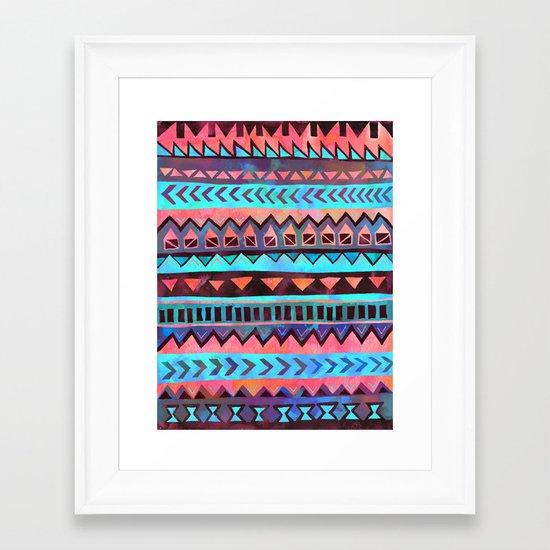 PATTERN {Tribal Stripe- Aqua} Framed Art Print