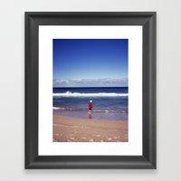 Red Jacket And Blue Ocea… Framed Art Print
