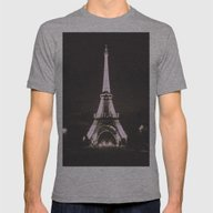 Vintage Style Paris Mens Fitted Tee Athletic Grey SMALL
