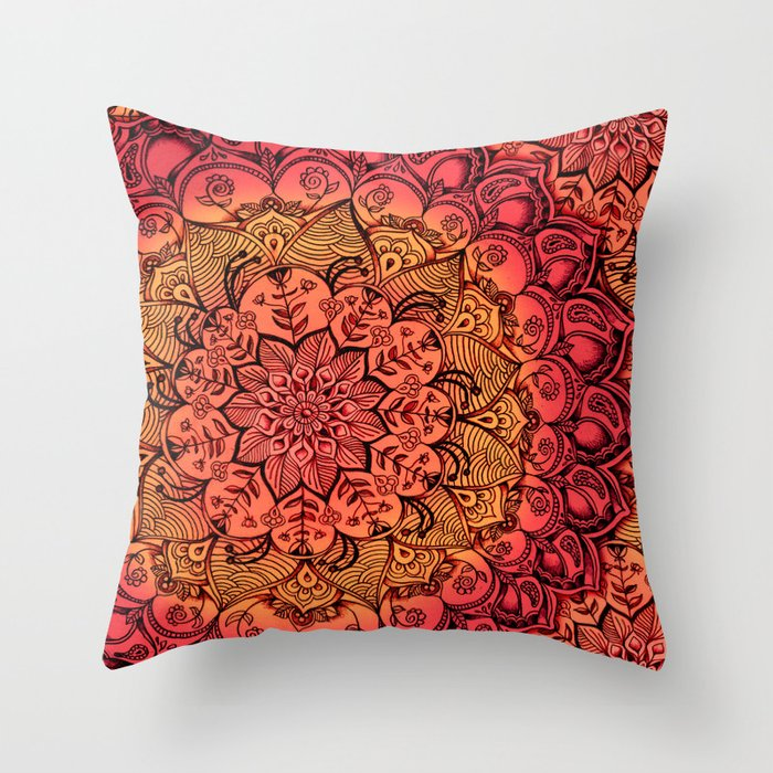 Throw Pillow Doodle : Ruby & Garnet Doodle Throw Pillow by Micklyn Society6